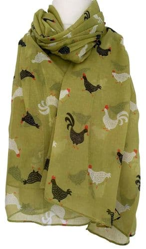 Chicken Scarf Ladies Hen Print Hens Lime Green Wrap Womens Large Shawl