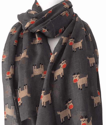 Christmas Scarf Grey Rudolph Reindeer Ladies Large Wrap Xmas Shawl Secret Santa Gift