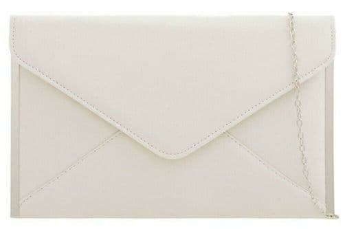 Cream Clutch Bag Ladies Ivory Coloured Faux Suede Evening Bag Silver Tone Envelope Shoulder Bag
