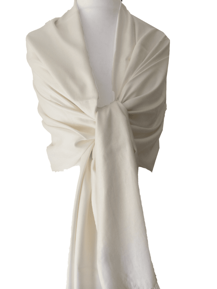 Cream Pashmina Wrap Ladies Ivory Fair Trade Shawl Large Plain Scarf Wedding Prom Accessories