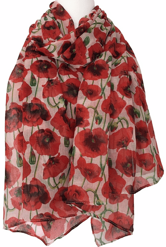 Cream Poppy Scarf Ladies Floral Wrap Large Red Flowers Poppies Shawl