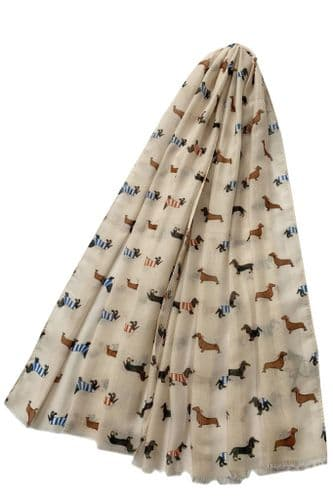 Dachshund Dog Scarf Ladies Beige Sausage Dogs Shawl Cute Dogs Lightweight Wrap