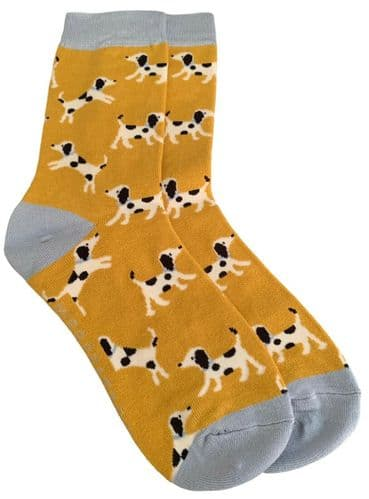 Dalmatian Socks Ladies Dog Print Yellow Bamboo Cotton Cute Dogs Shoe Size 4 - 7