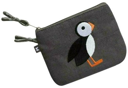 Earth Squared Puffin Purse Grey Fair Trade Canvas Coin Pouch Girls Ladies Small Embroidered Bird