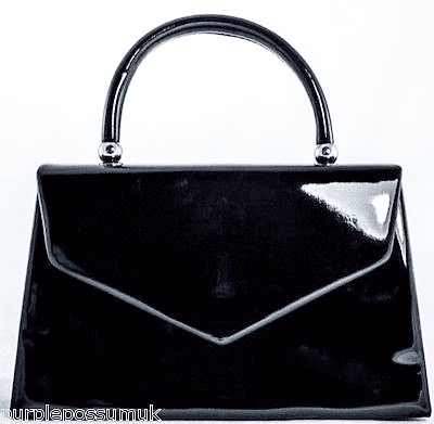 Grab Bag Ladies Black Glossy Evening Bag Patent Top Handle Handbag, Wedding Races Prom