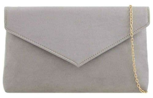 Grey Clutch Bag Ladies Faux Suede Evening Bag Envelope Shoulder Bag Prom Handbag