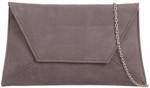 Grey Clutch Bag Slimline Faux Suede Evening Bag Envelope Shoulder Bag Ladies Prom Handbag