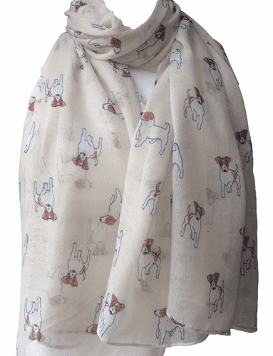 Jack Russell Dog Scarf Ladies Cream Shawl White Tan Terrier Dogs