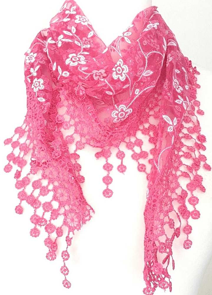 Lace Triangle Scarf Ladies Pink White Vintage Style Scarf Cerise Sparkly Tassel Trim