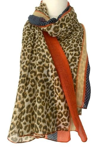 Leopard Print Scarf Ladies Animal Print Brown Orange Striped Large Wrap Navy Shawl