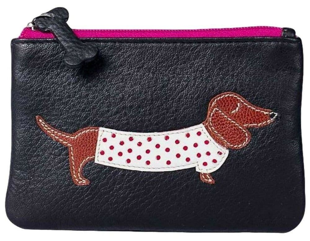 Mala Leather Coin Purse Dachshund Cute Sausage Dog Small Black Leather Money Pouch Ladies