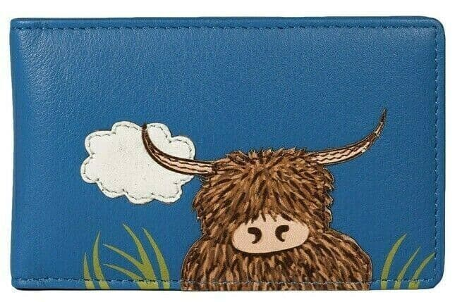 Mala Leather Credit Card Holder RFID Ladies Highland Cow Blue Soft Leather Bus Pass ID Case Wallet
