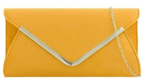 Mustard Clutch Bag Ladies Yellow Faux Suede Evening Bag Prom Shoulder Bag Silver Trim