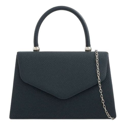 Navy Blue Grab Bag Ladies Evening Bag Top Handle Faux Leather Handbag Wedding Clutch bag