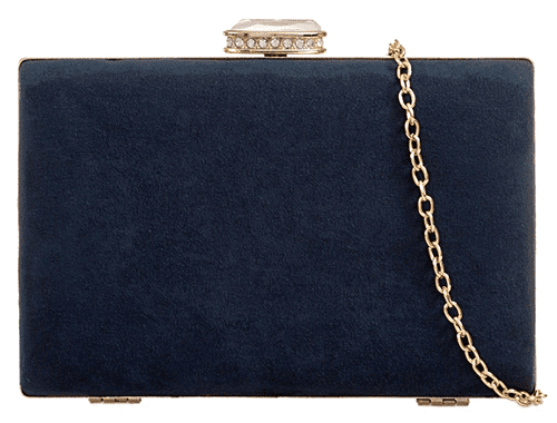 Navy Clutch Bag Hard Case Tablet Evening Shoulder Bag Faux Suede Compact Box Style Purse Handbag