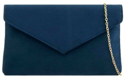 Navy Clutch Bag Ladies Faux Suede Dark Blue Evening Bag Slim Envelope Bag Handbag