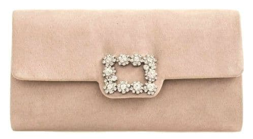 Nude Clutch Bag Ladies Beige Faux Suede Evening Bag Envelope Diamante Handbag