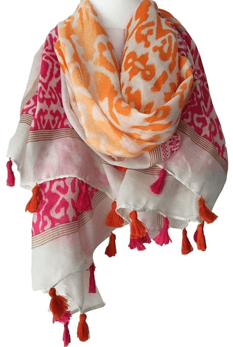 Orange Tassel Scarf Ladies Hot Pink Oversized Festival Wrap Shawl