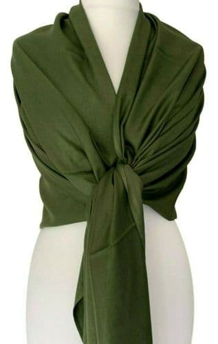 Pashmina Dark Green Wrap Ladies Fair Trade Olive Shawl Large plain Scarf Wedding Prom Accessories