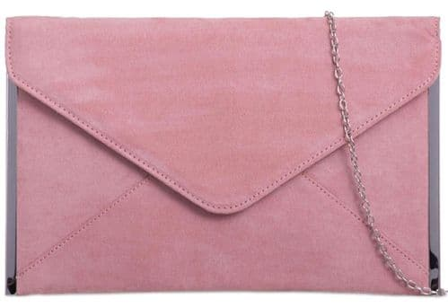 Pink Clutch Bag Faux Suede Evening Bag Slim Silver Tone Pale Light Pink Envelope Bag Dusky Pink