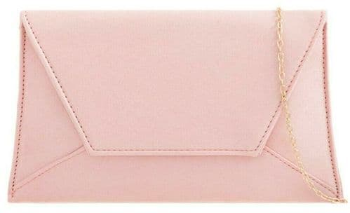 Pink Clutch Bag Ladies Slim Faux Suede Evening Shoulder Bag Large Envelope Purse