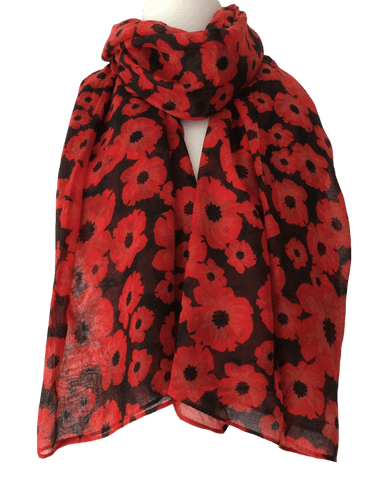 Poppy Scarf Ladies Black Red Flowers Wrap Floral Print Poppies Shawl