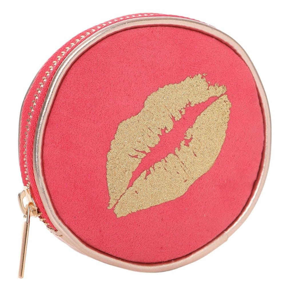 Purse Small Pink Money Coin Pouch Ta Da Gold Sparkly Lips Ladies Girls Wallet