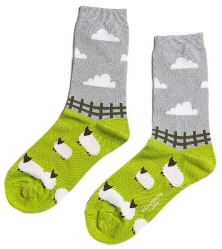 Sheep Socks Lime Green Grey Bamboo Cotton Blend Ladies Ankle Socks Farm Animals