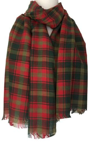 Tartan Scarf Maple Leaf Green Red Plaid Shawl Ladies Men's 100% Cotton Checked Fair Trade Scarf