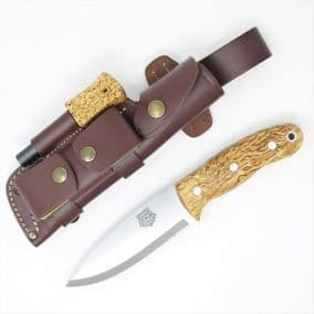 TBS Grizzly Bushcraft Survival Knife - Curly Birch - DC4 & TBS Firesteel Edition