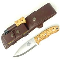 TBS Grizzly Bushcraft Survival Knife - Curly Birch - Full Cover Multi Carry Sheath