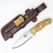 TBS Grizzly Bushcraft Survival Knife - Curly Birch - TBS Firesteel Edition