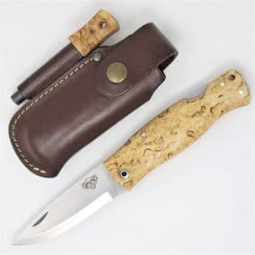 TBS Wolverine Puukko Folding Knife - Curly Birch  - Firesteel Edition