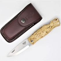 TBS Wolverine Puukko Puukko Folding Knife - Curly Birch  - Multi Carry Belt Pouch
